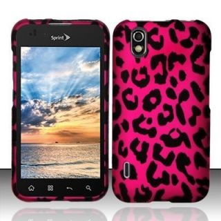 Pink Leopard Rubberized Hard Protector Case Snap on Phone Cover for