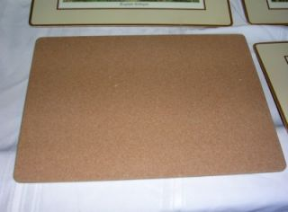 Large Set 4 Cork Placemats Table Mat Coaster English Cottages Country