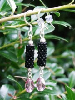 Tubular Peyote Stitch Black Seed Bead Earrings Handmade