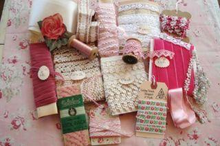 Huge Lot 43Y Vintage Pink Ribbon Trim Lace Velvet Silk Thread Needle
