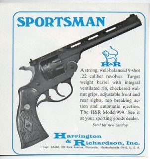 1968 Vintage Ad H&R Harrington & Richardson Model 999 .22 Calibre