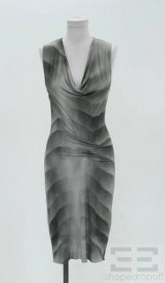 Helmut Lang Grey Print Jersey Sleeveless Cowl Neck Dress Size P