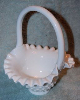 Fenton White Milk Glass Hobnail Fluted Basket Dish