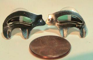 Vtg Sterling Zuni Bear Earrings 3 GM Turq Hema Prystene