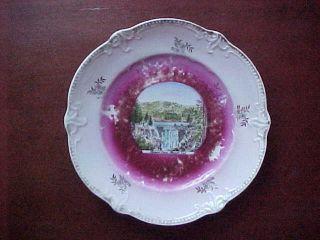 """Hemet CA Souvenir China Dish """"Hemet Dam"""" 1900"""