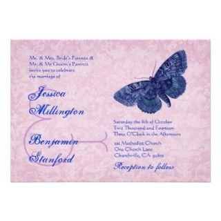 Pink and Blue Vintage Butterflies Wedding Template Custom Invitation