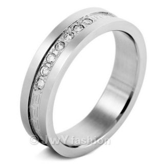 12 Mens Silver Stainless Steel Greek Rings Wedding Band VE371