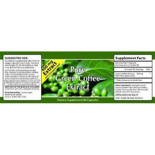 400 mg PURE Green Coffee Bean Extract 60 Capsules BELLY FAT LOSS Seen