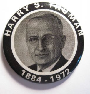 Harry s Truman 1884 1972 1 3 4 Memorial Pinback Button Very Nice P 148