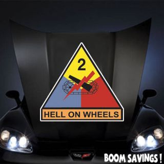 US Army 2nd Armored Division Hell on Wheels SSI 20 Huge Decal Sticker