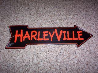 HARLEY DAVIDSON MOTORCYCLES, HARLEYVILLE TIN SIGN