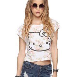 Forever 21 Floral Crop Top White Pink Hello Kitty Limited Edition MK M