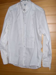 After Six Mens White Long Sleeve Formal Pleated Tuxedo Shirt M4 15 1 2