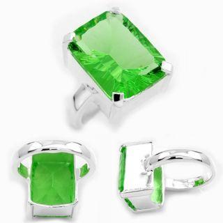 Fashion Silver Green Quartz Gemstone Ring Size 7