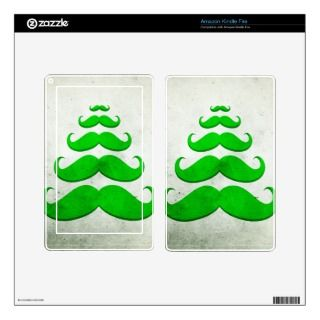 Funny green mustache, Christmas tree shape Skin For Kindle Fire