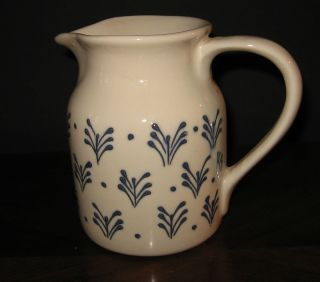 Vintage Hartstone Pottery Off White with Blue Pattern Pitcher Creamer