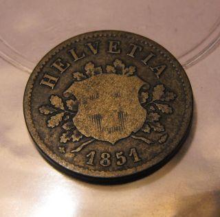 10 Rappen Silver Billon Coin Swiss Helvetia Switzerland RARE