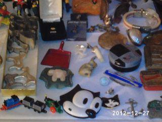 Large junk drawer lot pocket watches 14k gold sterling key chains vtg