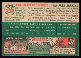 1954 Topps, Rollie Hemsley #143, Coach, Philadelphia Athletics