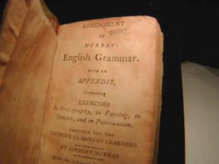 RARE AMERICAN BOOK James Adams Grammar Book c1811