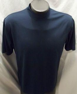 Greg Norman Golf Short Sleeve Shirt Mock Golf Size Large L Navy Blue