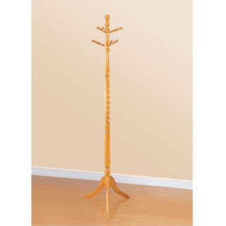 Twist Center Stand Hall Tree Solid Wood Coat Hat Rack Hanger