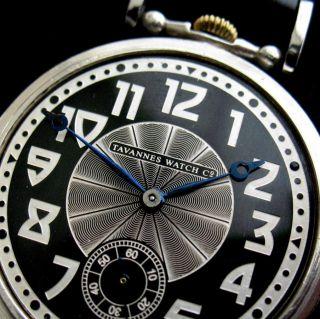 Rare Branded Eye catching Swiss TAVANNES Watch Art Deco Black & Silver