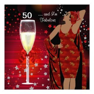50th 50 birthday party retro diva art deco red white fabulous black
