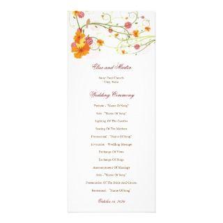fatfatin Yellow Hibiscus Swirls Wedding Program Custom Invites