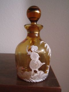 CRUET Mary Gregory antique vtg art glass jug vase pitcher amber