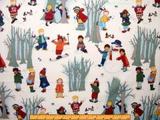 2002 Alexander Henry Christmas Winter Children Playing Snow Fabric FQ