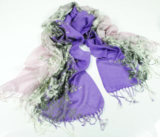 Fast Ship Silk Pashmina Scarf Purple Floral Print