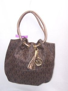 Michael Kors Brown Monogram Marina Shoulder Hobo Handbag 428