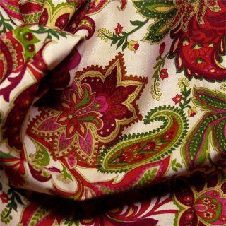 Henry Glass Cotton Fabric Paisley Rose Pink Green Gold Cream per Yard