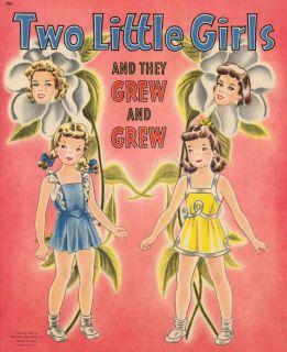 Vintage 2 Girls Grew Paper Dolls Lazer Repro ORG Size