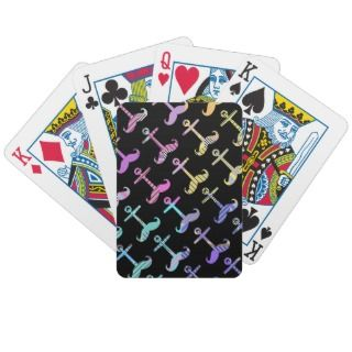 Funny Striped Pastel Anchstache Pattern black Bicycle Card Deck