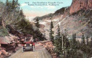 Auto RD Nisqually Glacier Rainier Natl Park WA Postcard