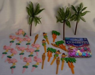 Hawaiian Luau Cupcake Picks Palm Trees Flamingos