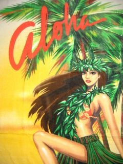 Hawaiian Hawaii Beach Towel 60x31 Sexy Hula Girl Dancer