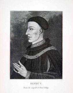 1892 Wood Engraving King Henry V English Costume Lancaster Monmouth
