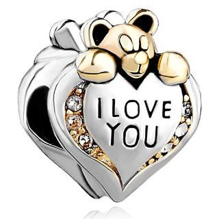 Pugster I Love You Heart Bear Charm Bead Fits Pandora Chamilia Biagi