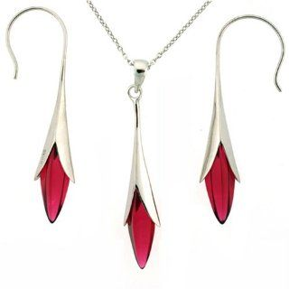 Silver Swarovski Crystal Red Ruby Birthstone Necklace