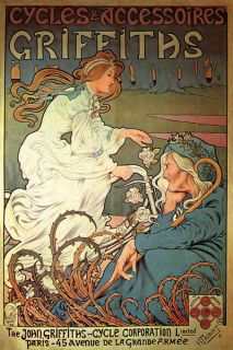 BICYCLE GRIFFITHS ACCESSORIES GIRL FRENCH PARIS VINTAGE POSTER REPRO