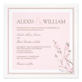Cherry Blossom Wedding Pink Custom Invitations