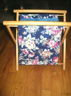 Vintage Floral Folding Wooden Sewing Knitting Crochet Bag