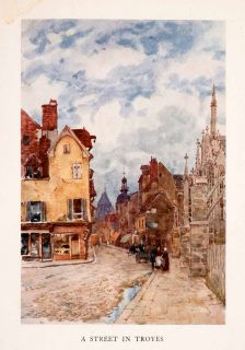 1907 Color Print Herbert Marshall Troyes Street Scene Traditional