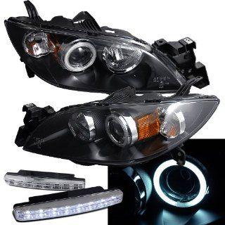 2004 2008 Mazda 3 Halo Headlights Projector + 8 Led Fog Bumper Light