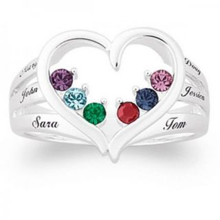 Personalized Silvertone Mothers Open Heart Name Birthstone Ring 2 to 6