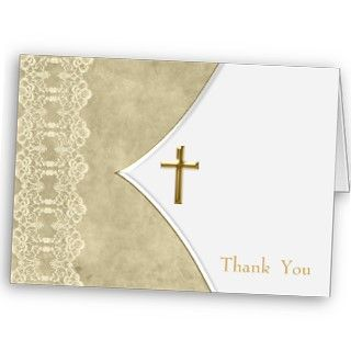 Ivory Gold Cross Baptism Christening Thank You Car Card