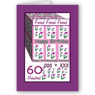 FRIEND   Happy 60th Birthday   Pink Heart Flowers Greeting Card